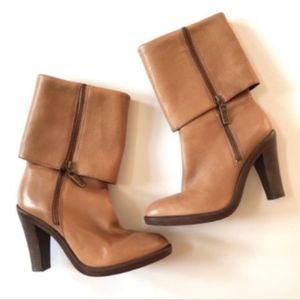 Michael Kors Leather Boots 7.5 Leather Heels Brown